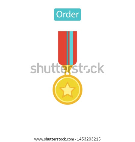Honorary award isolated on white background. Sport award, victory emblem. Order pictogram. Flat pictogram for web site design and mobile apps. Vector illustration.