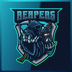 Hood Reaper glow blue color esport and sport mascot logo design with modern illustration concept for team, badge, jersey and t-shirt printing. Grim illustration on isolated background. Premium Vector