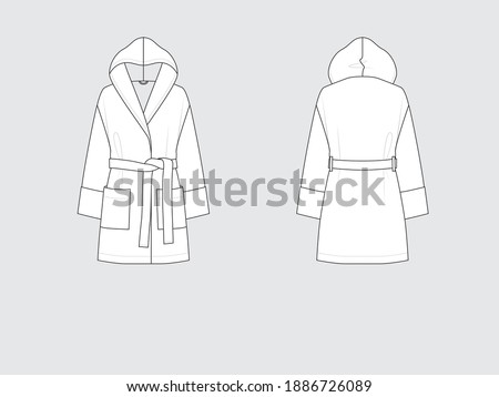 hooded bathrobe, front and back, drawing flat sketches with vector illustration by sweettears Stock foto ©