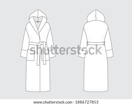 hooded long bathrobe, front and back, drawing flat sketches with vector illustration by sweettears Stock foto ©