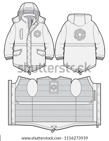 Hooded sport parka with zip closure and pockets. Front and back view Сток-фото ©