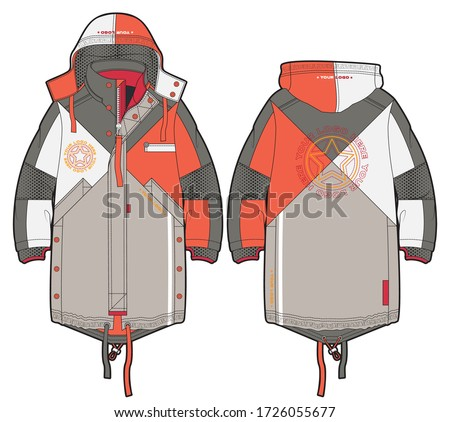 Hooded sporty parka with zip closure and pockets. Contrast color solution. Front and back view. Сток-фото ©