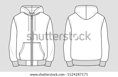 Hooded sweat jacket with zipper. Mockup template.