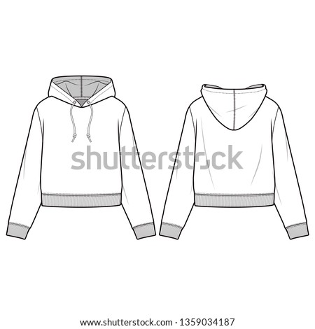 Hooded Sweatshirt fashion flat sketch template