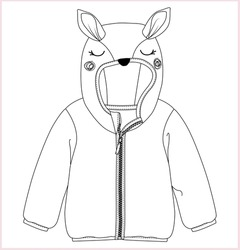 hoodie for kids flat sketch vector. Apparel template for girls