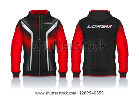 Hoodie shirts template.Jacket Design,Sportswear Track front and back view. #1289540359