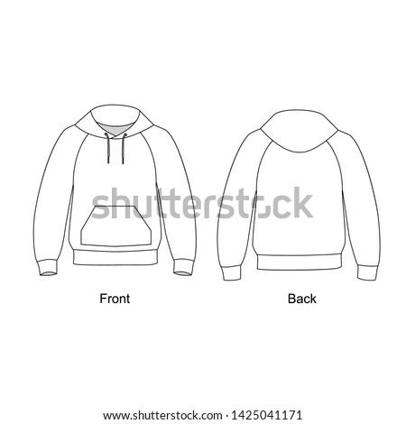 Hoodie with pocket in front. Technical sketch sweatshirt with hood vector.