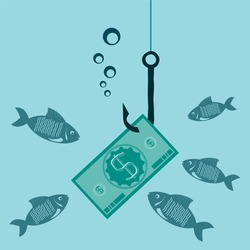 Hook the icon of dollar cash, money. Investment money. Fish look at the money under water