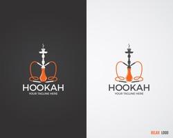 Hookah relax labels, badges and design elements collection in 2 color variations. Vintage shisha logo. Lounge cafe emblem.  Arabian bar or house, shop. Isolated vector illustration