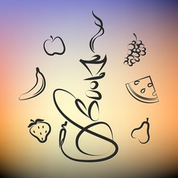 Hookah with different fruits for the vector silhouette