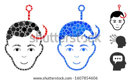 Hooked man head mosaic of spheric dots in variable sizes and shades, based on hooked man head icon. Vector dots are combined into blue mosaic. Dotted hooked man head icon in usual and blue versions.