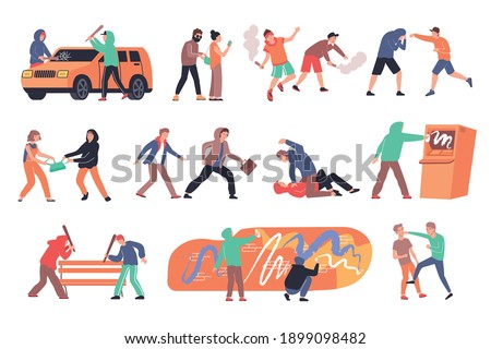 Hooliganism flat compositions set with muggers vandals hooligans attacking people damaging property isolated vector illustration Foto stock ©
