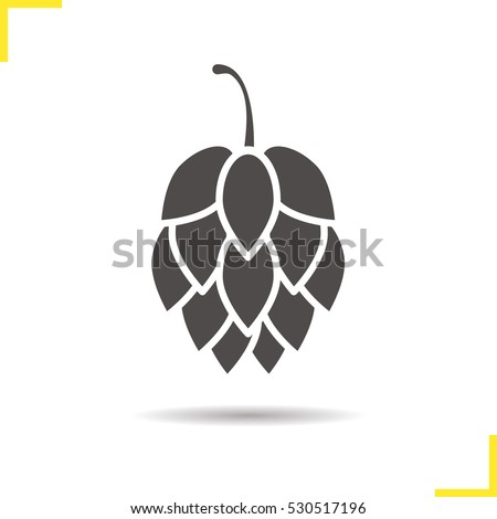 Shutterstock Hop cone icon. Drop shadow silhouette symbol. Negative space. Vector isolated illustration