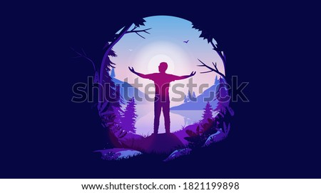 Hope - Positive illustration of man enjoying freedom and fresh air. Visiting nature, opening up opportunities, seeking a happy life and welcoming tomorrow. Oval frame and vector format. Сток-фото ©
