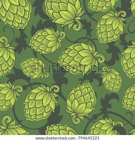 Hope seamless pattern. Hop cone background. Craft Beer wallpaper. Engraving hop cones.