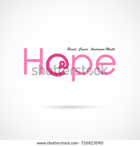 Hope word icon.Breast Cancer October Awareness Month Campaign Background.Women health vector design.Breast cancer awareness logo design.Breast cancer awareness month icon.Realistic pink ribbon icon