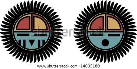 Hopi Tawa  sun kachina  face - with and without war paintHopi Sun Symbol