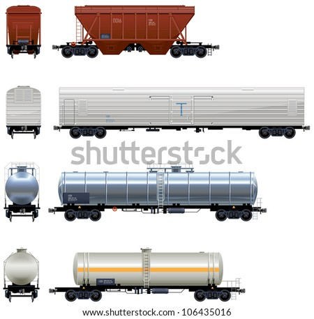 Hopper Car Refrigerator Car Tanks Train #3 Pixel optimized Elements are in the separate layers In the side back and front views