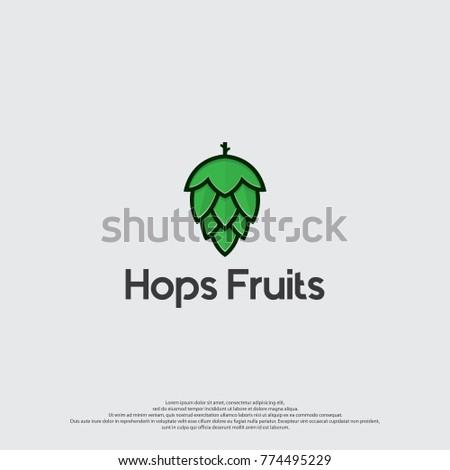 Hops Fruits Logo Template. Hops Icon Vector.