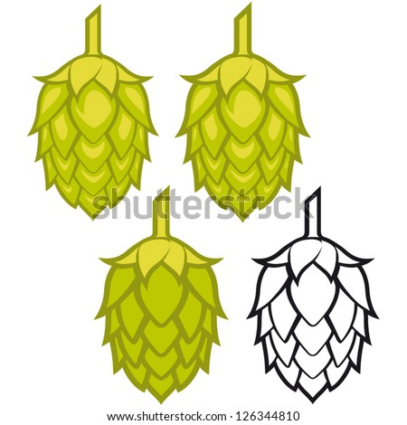 Hops vector visual graphic icons or logos, ideal for beer, stout, ale, lager, bitter labels & packaging  etc.