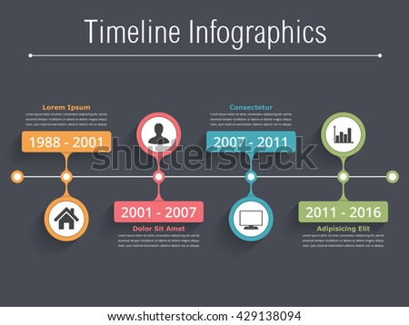 Horionztal timeline infographics template with dates, icons and text, vector eps10 illustration