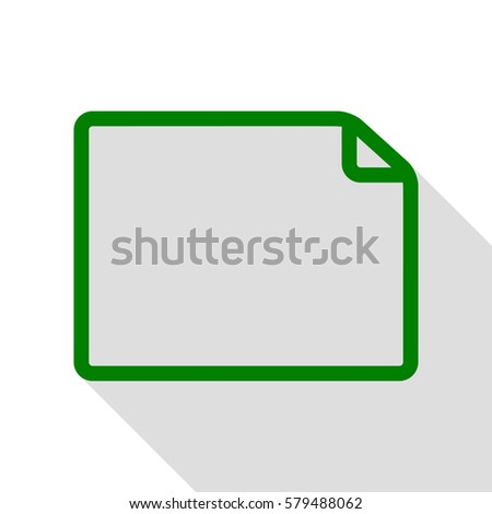 Horisontal document sign illustration. Green icon with flat style shadow path.