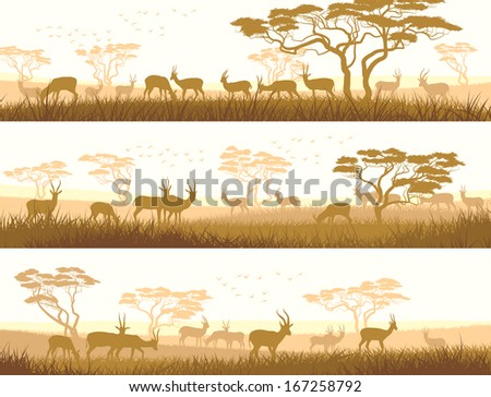 Horizontal abstract banners of herd antelope in African savanna with trees.