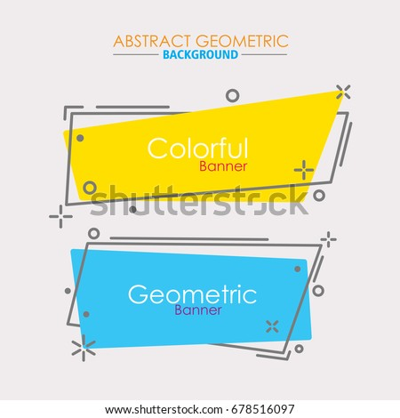 horizontal abstract geometric banners. vintage and trendy backgrounds set.