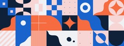 Horizontal abstract vector pattern with simple geometric shapes and forms. Long composition of graphic elements, useful for web design, business presentation, website header, invitation background.