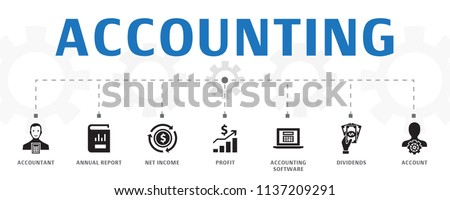 horizontal Accounting banner concept template with simple icons. Contains such icons as Account, Annual report, Net Income and more