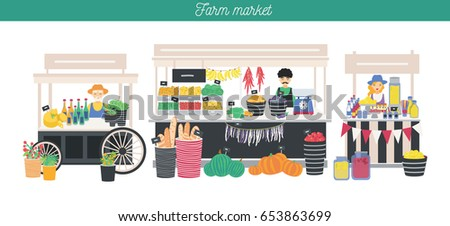 Shutterstock Horizontal advertising banner on farm market theme, organic food. Different vendors, local shop. Farmers sell fresh products, vegetables, fruits, bread, drink. Colorful vector illustration.