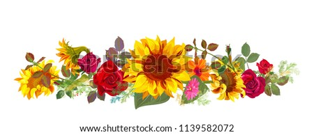 Horizontal autumn\'s border: orange, yellow sunflowers, red roses, gerbera daisy flowers, small green twigs on white background. Digital draw, illustration in watercolor style, panoramic view, vector