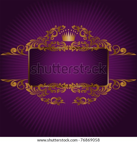 horizontal banner and a frame with gold ornaments and a crown