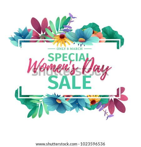 Horizontal banner for sale International  Happy Women's Day on flower background. Flyer for March 8 with the decor of floral. Invitations with  frame and flower for offer and discount. Vector. #1023596536