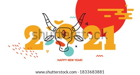 Horizontal banner in Chinese style with a bull. New Year 2021.
