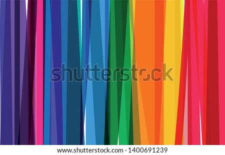 Horizontal banner of colorful rainbow colored vertical stripes