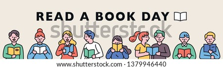 Horizontal banner outline. The concept of reading day. People who line up and read books. flat design style minimal vector illustration