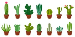 Horizontal banner set of desert, room green cactus. Flat, cartoon style. Vector illustration white background. Element design.