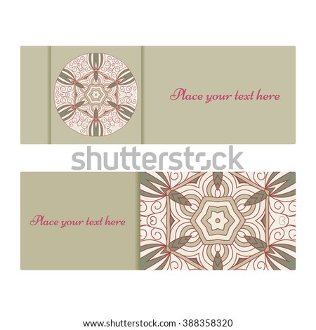 Horizontal banner templates with mandala pattern. Vintage background.