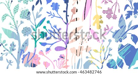 Horizontal banner with beautiful flowers and hand drawn texture. Vector floral header and creative background. Design for poster, card, invitation, placard, brochure, flyer. Isolated