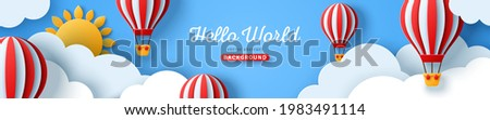 Horizontal banner with blue sky and paper cut clouds. Place for text. Happy summer day sale header or voucher template with sun and hot air balloons.