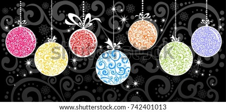 Horizontal banner with christmas garland and ornaments. Hanging colorfull balls. Great for flyers, posters, headers. Vector illustration