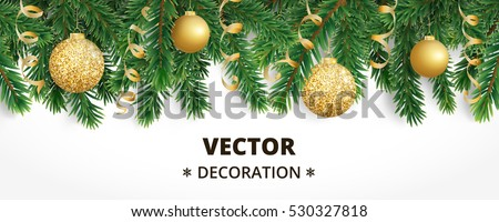 Horizontal banner with christmas tree garland and ornaments. Hanging golden glitter balls and ribbons. Great for flyers, posters, headers. Vector illustration #530327818