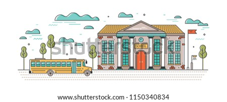Horizontal banner with classic school building and bus for children driving on road. Educational institution, system of formal education. Bright colored vector illustration in modern line art style.