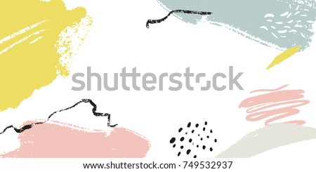 Horizontal banner with copyspace and abstract brush strokes and hand marks. Header image with place for text
