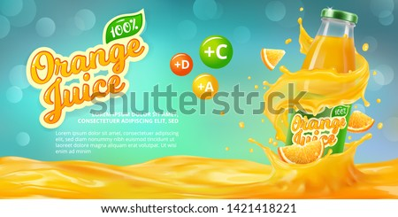 Horizontal banner with 3D realistic advertising of orange juice, a bottle in a splash of orange juice among the splashes and a logo