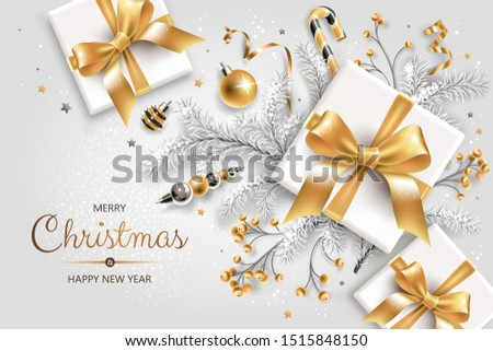 Horizontal banner with gold and silver Christmas symbols and text. Christmas tree, gifts, decoration and other festive elements on white background.