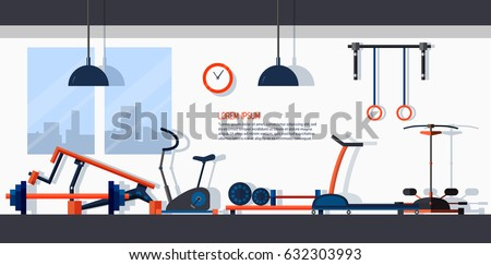 Horizontal banner with gym interior. Backdrop with sports equipments. Colorful vector template in flat style with place for text.