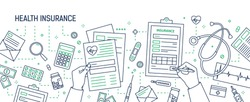 Horizontal banner with hands filling out form of health insurance surrounded by dollar bills and coins, documents, medicines drawn with contour lines. Monochrome vector illustration in lineart style.
