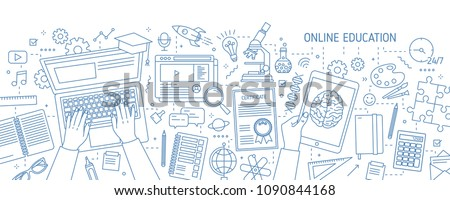Horizontal banner with hands typing on computer and various office supplies drawn with contour lines on white background. Online education, internet studying. Vector illustration in lineart style